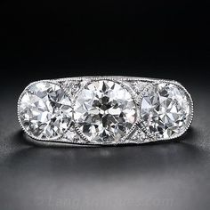 3.15 Carat Art Deco Three-Stone Diamond Ring