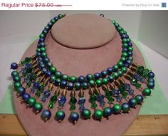 Vintage 50's Chunky Blue Green Lucite & Crystal by MartiniMermaid, $60.00