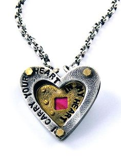 I Carry Your Heart Necklace: Beth Taylor: Silver, Brass, & Tin Necklace - Artful Home