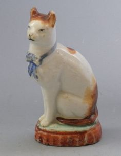 Rare Small Porcelain Staffordshire Sitting Cat, 19th C