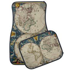 Antique World Map - Blaeu, Joan 1664 Car Mat