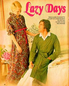 Genuine Vintage 1970s 'Lazy Days' His & Her Dressing Gowns Sewing Pattern....Groovy, Retro, Kitch, Boho, Biba stylex