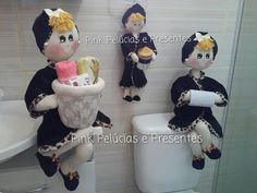 Bonecas organizadoras de lavabo  Valor de cada uma R$85,00 ou R$200,00 o trio  Boneca porta Papel higienico - Porta toalhas e Porta cotonetes  Em algodão e atoalhado!