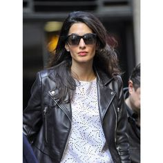 Amal Clooney wearing Balenciaga leather biker jacket Instagram picture of Leather Biker Jacket