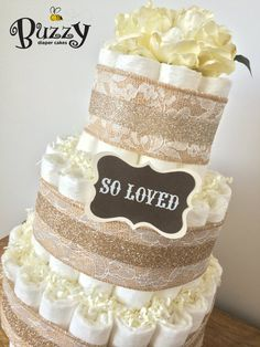 Lacey Burlap, Elegant Ivory Gender Neutral Diaper Cake for Baby Boy or Baby Girl Baby Shower