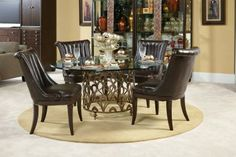 "5-piece Bob Mackie Home 60"" Round Dining Room Set"