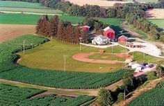 Field of Dreams Movie Site: is this Heaven? No, this is Iowa. If you build it, HE will come. I only wish my late dad could arrive on that field Mlb, Baseball Park, Baseball Field, Movie Sites, Challenge, Field Of Dreams, Famous Movies, Free Things To Do, Aerial View
