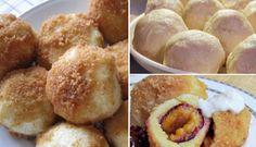 Slovenské perky s povidly a mákem Dumplings, Kefir, Hamburger, Muffin, Food And Drink, Bread, Cooking, Breakfast, Recipes