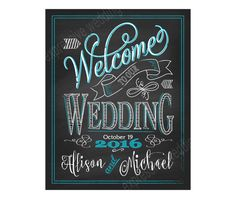 Printable Welcome to Our Wedding Chalkboard Sign Blue Wedding Chalk Prints with Names DIY Wedding Printables C1 WELC SCUBA
