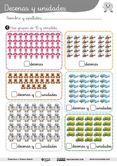 Buenos días. En esta entrada os presento una ficha con la que trabajar el agrupamiento de objetos en decenas y unidades. Los alumnos rodearán en cada situación grupos de 10 para poder descomponer e… Math 2, Kindergarten Math, First Grade Phonics, Math For Kids, Activities For Kids, Periodic Table, Teaching, Multiplication, Salvador