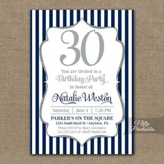 Elegant navy blue and silver glitter birthday invitation, perfect for any age.    Coordinating party printables are here: