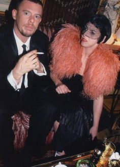 bighautemess:      isabella blow and alexander mcqueen    Hope you are collaborating in heaven, you fierce creatures.