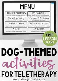 Make teletherapy lesson planning a breeze by using this list of dog-themed activities to target a variety of speech and language goals. The variety in this round up of Boom Cards, books, videos, games, articles, and more will give you something for each of your speech therapy students, using the fun and engaging theme of dogs! Perfect for National Dog Day..... or any time for dog-lovers! Therapy Ideas, Art Therapy, Speech Therapy Organization, Phonics Flashcards, Alphabet Sounds, Story Sequencing, Good Find, Compare And Contrast, Lesson Planning