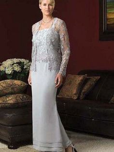(FITS0251332 )Sheath / Column Lace Long Sleeves Ankle-length Chiffon Light Sky Blue Mother of the Bride Dresses