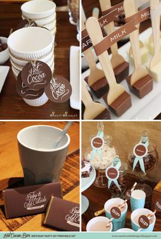 HOT COCOA BAR Printables  Cupcake Toppers by SweetScarletDesigns, $10.00