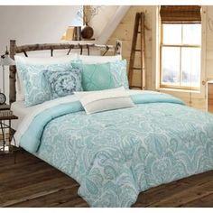 Charlton Home Avoca Painterly Paisley Cotton Reversible Comforter Set Size: Full/Queen Full Comforter Sets, Queen Comforter Sets, Paisley Bedding, Paisley Quilt, Online Bedding Stores, Luxury Bedding Sets, Cool Beds, House Painting, Comforters