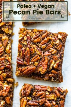 Paleo meals 236016836708338455 - Paleo Vegan Pecan Pie Bars – A simple coconut flour base topped with a gooey caramel pecan topping. A healthier take on a Thanksgiving classic! Source by asaucykitchen Healthy Thanksgiving Recipes, Whole Food Recipes, Vegetarian Recipes, Cooking Recipes, Healthy Recipes, Primal Recipes, Vegan Pecan Pie, Pecan Pie Bars, Vegan Pie