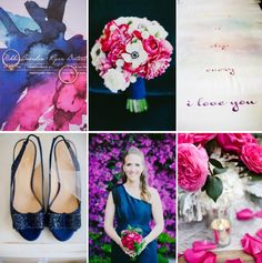 Fuchsia   Violet paired with Elegant Navy and Cream | OneWed