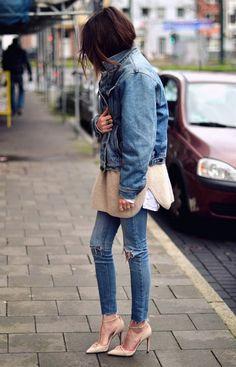 all denim denim pants denim jacket street style