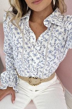 Oh Hello Clothing, Floral Prints, Blouse, Lace, Fabric, Model, Cotton, How To Wear, Pearl
