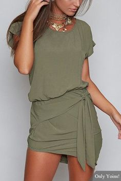 Green Round Neck Self-tie Design Mini Dress