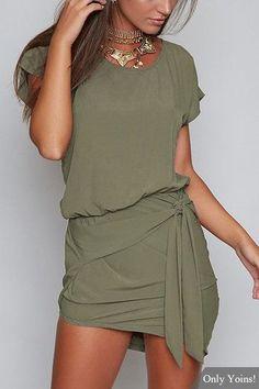 Green Round Neck Self-tie Design Mini Dress