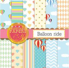 Hot air balloon digital paper 12 balloon by GemmedSnail on Etsy