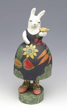 Nature Girl saraswink.com Pottery Sculpture, Sculpture Clay, Clay Projects, Clay Crafts, Rabbit Sculpture, Guys And Dolls, Rabbit Art, Clay Figures, High Art