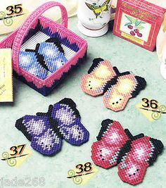"Free Plastic Canvas Butterfly Patterns | Butterfly Coaster Set"" Plastic Canvas Pattern 
