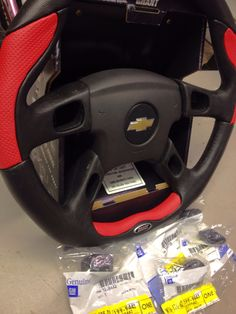 Finally, I've got all of the accessories for my Grant steering wheel. Chevy airbag with the circle Bowtie emblem, and new GM control buttons, all fit on the Grant wheel just like the factory wheel.
