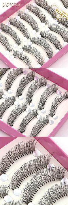 [Visit to Buy] YOKPN 10 pairs Natural False Eyelashes Transparent Cotton Stems Thick False Eyelashes Makeup Accessory Tool Cross Fake Eyelashes #Advertisement