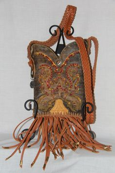 Beautiful distressed Boot purse with Yellow and by GriffinsCloset, $220.00