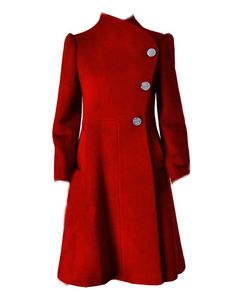 Red Cashmere coat E47076919 by xiaolizi on Etsy, $129.00