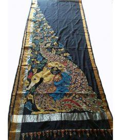 Saree Painting, Kalamkari Painting, Fabric Painting, Hand Painted Sarees, Hand Painted Fabric, Painted Silk, Kalamkari Saree, Silk Sarees, Saris