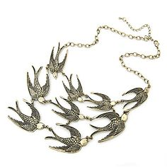 Swallows Charms Necklace Vintage Bronze Tone Choker Necklace – USD $ 4.79