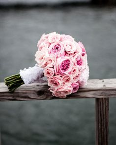 Dawn Kelly of Soiree Florals mixed peonies -- the bride's favorite -- and garden roses for the bouquets.