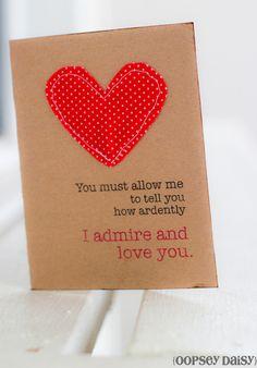 Handstitched Valentine Card
