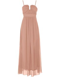 Beige chiffon maxi dress. Structured detailing on the top with hidden support. Length 130cm. 100 polyester. Hand wash only.