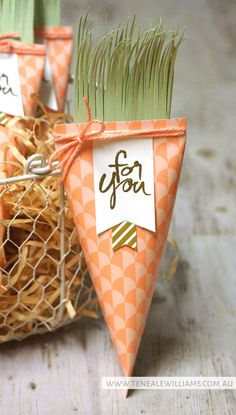 "By Teneale Williams | Stampin' Up! Artisan Blog Hop | Mum's Love Stamp Set | Crisp Cantaloupe sour cream container carrots. Cut thin ""V"" shapes in Pistachio Pudding cardstock for carrot top"