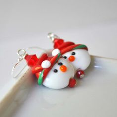 Snowman Earrings Christmas Jewelry Lampwork Glass by bstrung