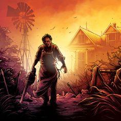 'The Texas Chain Saw Massacre' print by Dan Mumford for Gallery 1988 Horror Icons, Horror Films, Michael Jackson Memes, Dan Mumford, The Dark Knight Trilogy, Texas Chainsaw Massacre, Dark Ink, Freddy Krueger, Star Wars Episodes