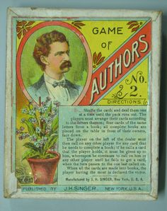"""Gilded Age NY Card Game, """"Game of Authors"""", c.1890. With instructions on box cover, and portrait of American Gilded Age Author, Mark Twain. ~ Publisher: J.H. Singer, New York ~~ {cwl} ~~ (The Strong National Museum of Play)"""