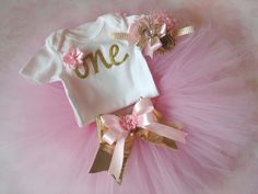 Pink and Gold first birthday outfitfirst by CositaBellaCreations