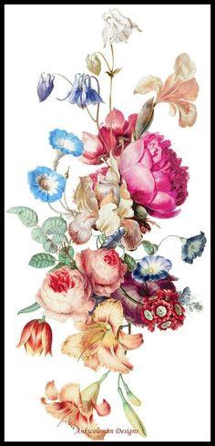 Vintage Blume Tattoo, Vintage Floral Tattoos, Vintage Tattoo Design, Vintage Flower Tattoo, Vintage Style Tattoos, Floral Vintage, Vintage Flowers, Tattoo Vintage, Vintage Ideas