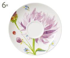 Set di 6 piattini per tazze da the' in porcellana multicolor Flowers, D 15 cm