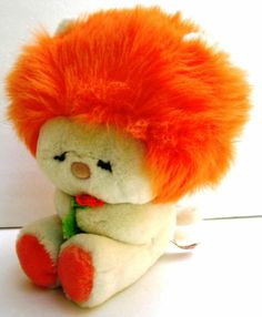 "We had some of these.  Not orange, though. | Vintage Dakin Lion Plush Frou Frou Orange Mane 10"" Stuffed Animal 80s Fun Farm"