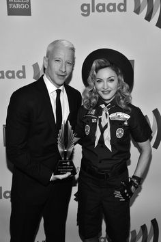 Madonna (donned in boy scout uniform) presents Anderson Cooper the Vito Russo Award for excellence in media. Bingo, Madonna, Boy Scout Uniform, Lara Spencer, Anderson Cooper, Amazing Race, Today Show, Material Girls, Boy Scouts