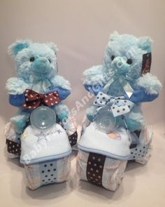 Bear Tricycle Rider Diaper Cake - Baby Boy - Diaper Cakes