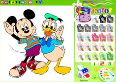 Mickey Mouse and Donald Duck are bored with the way that they look and they want to change that by changing the color of their clothes. Color Mickey and Donald the way that you want to and at the end you can print the image or restart the game if you don`t like how they look.