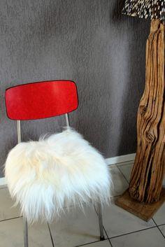 Schapenvacht chair pad kussen wit langharig